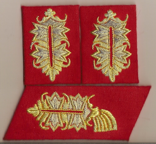 General Officer bullion litzen tabs red fabric Price:  $50.00 per Set