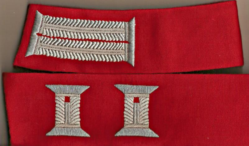 "General Staff Officer's Finished 18"" Collar Silver Litzen on Red Fabric Price pe"