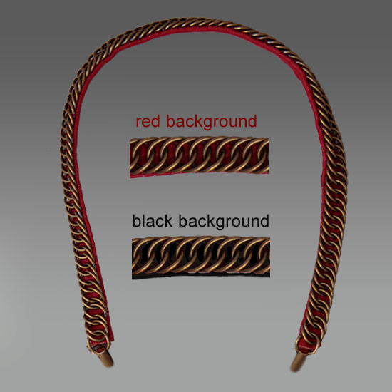 Officer's Style Gorget Chain Length: 40 CM Price:  $100.00 or $115.00 with pronged ends  Both availabe with black or red backing