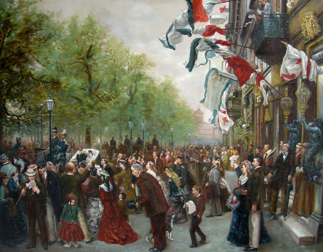 DEPARTURE OF KAISER WILHELM I FROM BERLIN 1870 Size 30 x 40 Inches