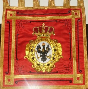 Prussia Kurassier Regt Graf Gessler Trumper Banner  Price: $150.00 single-sided 12.75 x 12.75 inches