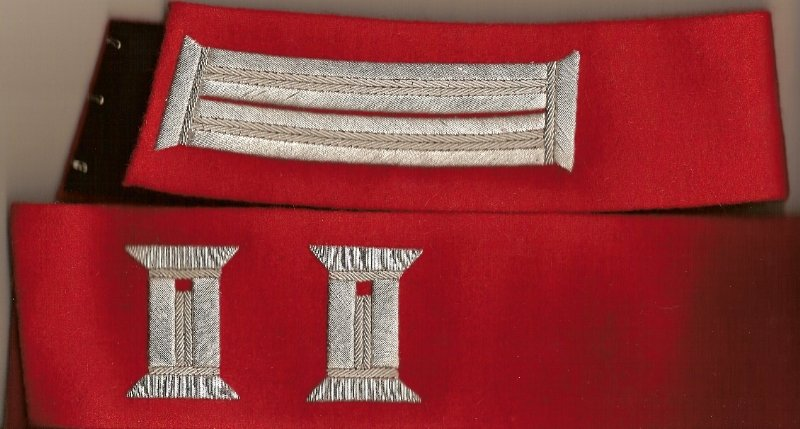 "Officer's Finished 18"" Collar Silver Litzen on Red Fabric Price per Set: $100.00"
