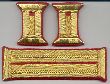 Officer's gold bullion litzen tabs red fabric Price:  $50.00 per Set