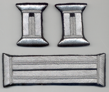 Officer's silver bullion litzen tabs black fabric Price:  $50.00 per Set