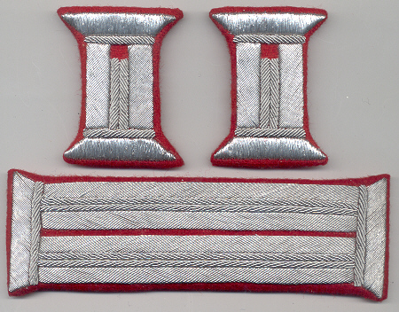 Officer's silver bullion litzen tabs red fabric Price:  $50.00 per Set