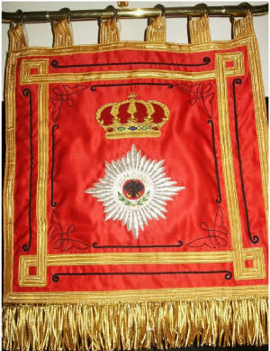 Prussian Hussar Fanfare Trumpet Banner #1  Price: $150.00 single-sided 12.75 x 12.75 inches